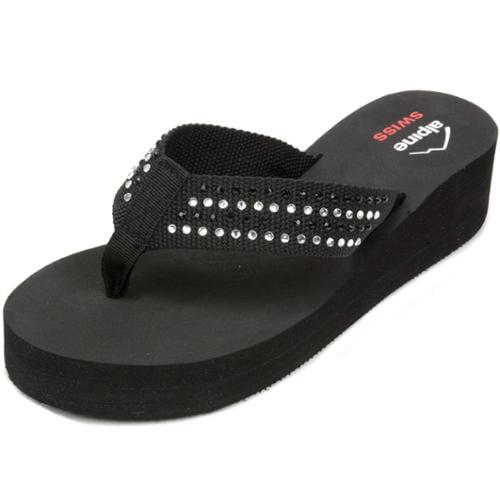 Alpine Swiss Womens Wedge Sandals Rhinestone Flip Flop High Heel Platform Thongs Black Size 7