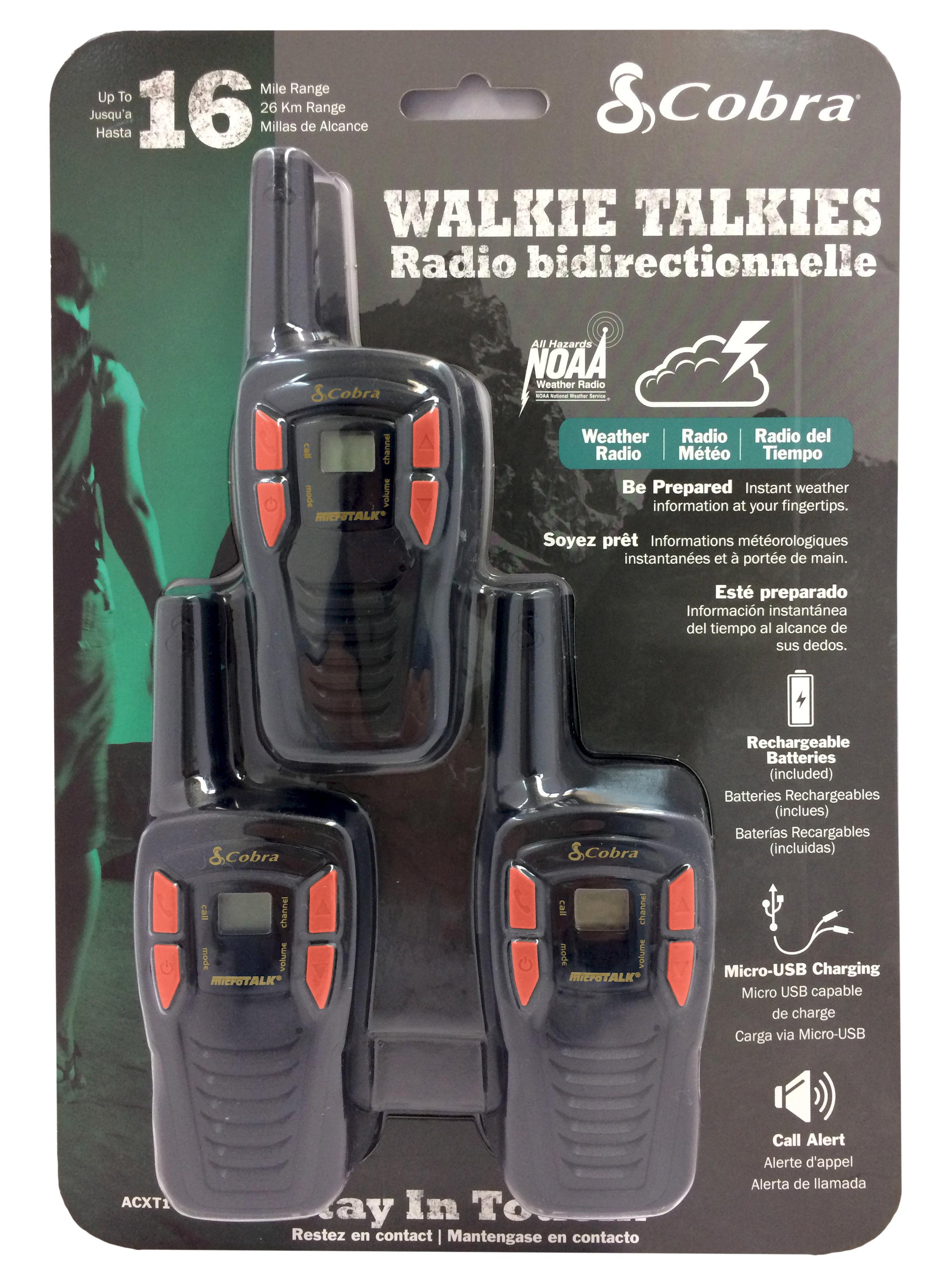4 Pack Cobra CXT195-4 16 Mile Walkie Talkies