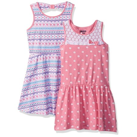 Polka Dot and Mosaic Print Dresses, 2-Pack (Little Girls & Big Girls)](Girls Beautiful Dress)
