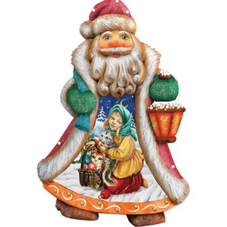 GDeBrekht 661412 5 in. Santa Girl With Toys Ornament Figurine With Scenic Painting