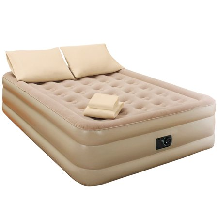 Queen-Size Raised Inflatable Air Mattress with 2 Pillows and 4pc Sheet Set - Includes Fitted, Flat and Two Pillow Cases (Sheets Air Mattress)
