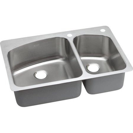 Elkay DPXSR2250R1 Dayton Premium Stainless Steel Double Bowl Dual-Mount Sink with Single Faucet Hole, Premium Highlighted Satin
