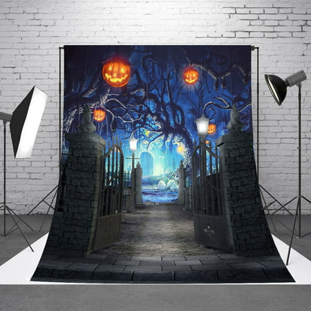 NK 5x7ft Thin Vinyl Cartoon Halloween Backdrop Haunted Witch Cabin Dead Wood Graveyard Silhouette Full Moon Purple Sky Horror Night Background for Party Decoraiton Photography Photo](Orange And Purple Halloween Background)