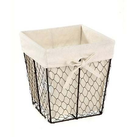 Homezone Square Wire Basket with Liner, 1 - Black Metal Basket