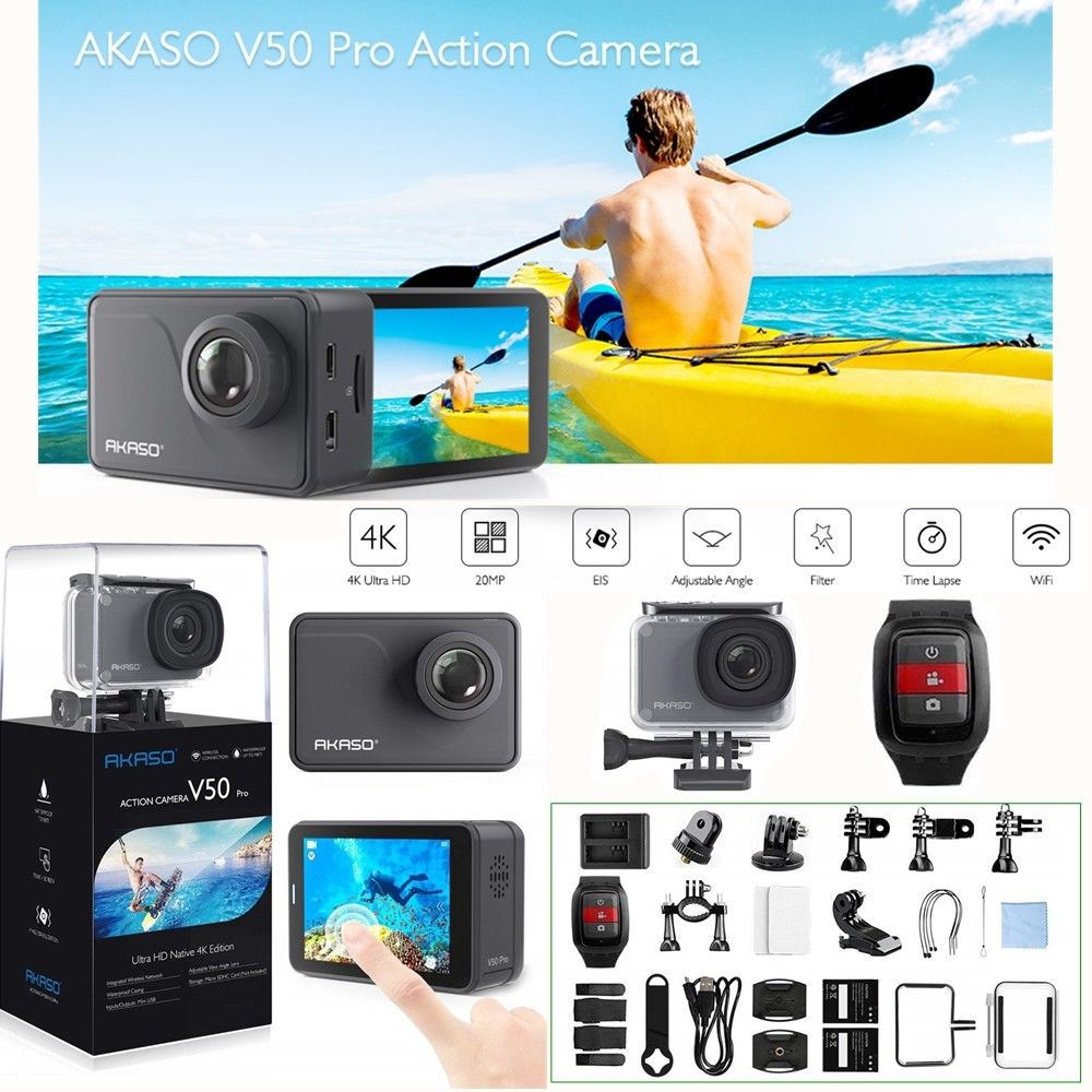 AKASO V50 Pro Action Camera Ultra HD Native 4K/30fps 20MP WiFi Touch Screen Waterproof EIS Camcorder Sport DV Video