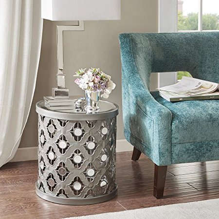 Spread Table Base - Modern Transitional Mirror Top Accent End Table with Quatrefoil Pattern Base - Includes Modhaus Living Pen