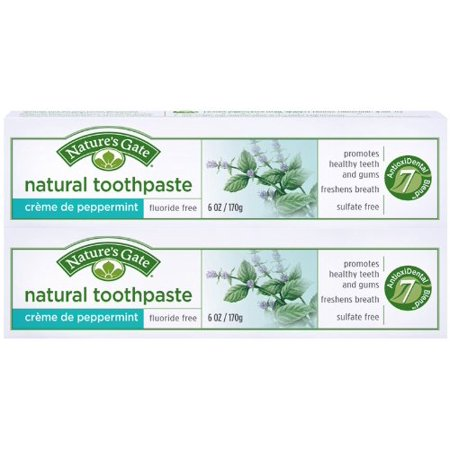 Nature's Gate Fluoride-Free Natural Creme toothpaste, Creme de Peppermint - 6 oz - 2 pk ()