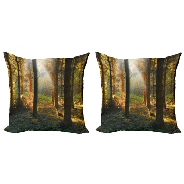 Forest Throw Pillow Cushion Cover Pack Of 2 Sunset View Of Dark Pine Woodland In Autumn Foggy Scene Sunbeams Trunks Shadow Zippered Double Side Digital Print 4 Sizes Orange Green By Ambesonne
