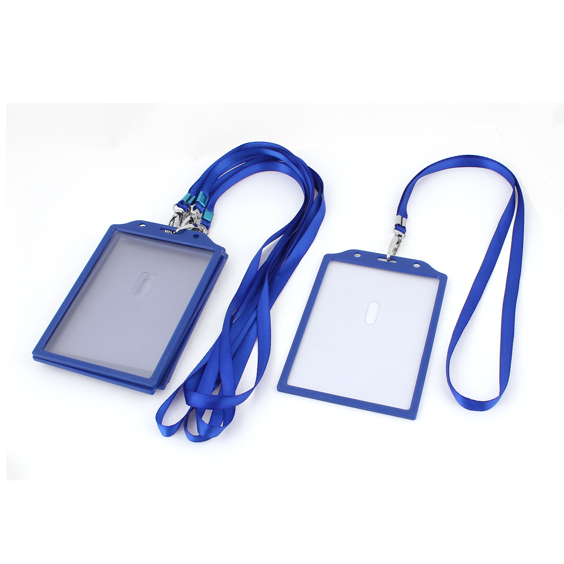 5Pcs Plastic Vertical ID Work Card Badge Holder w Neck Strap Lanyard