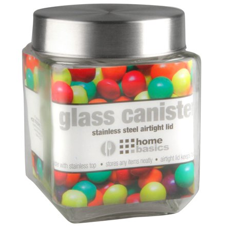 40 oz. Square Glass Canister with Brushed Stainless Steel Screw-on Lid Clear Steel Clear Glass