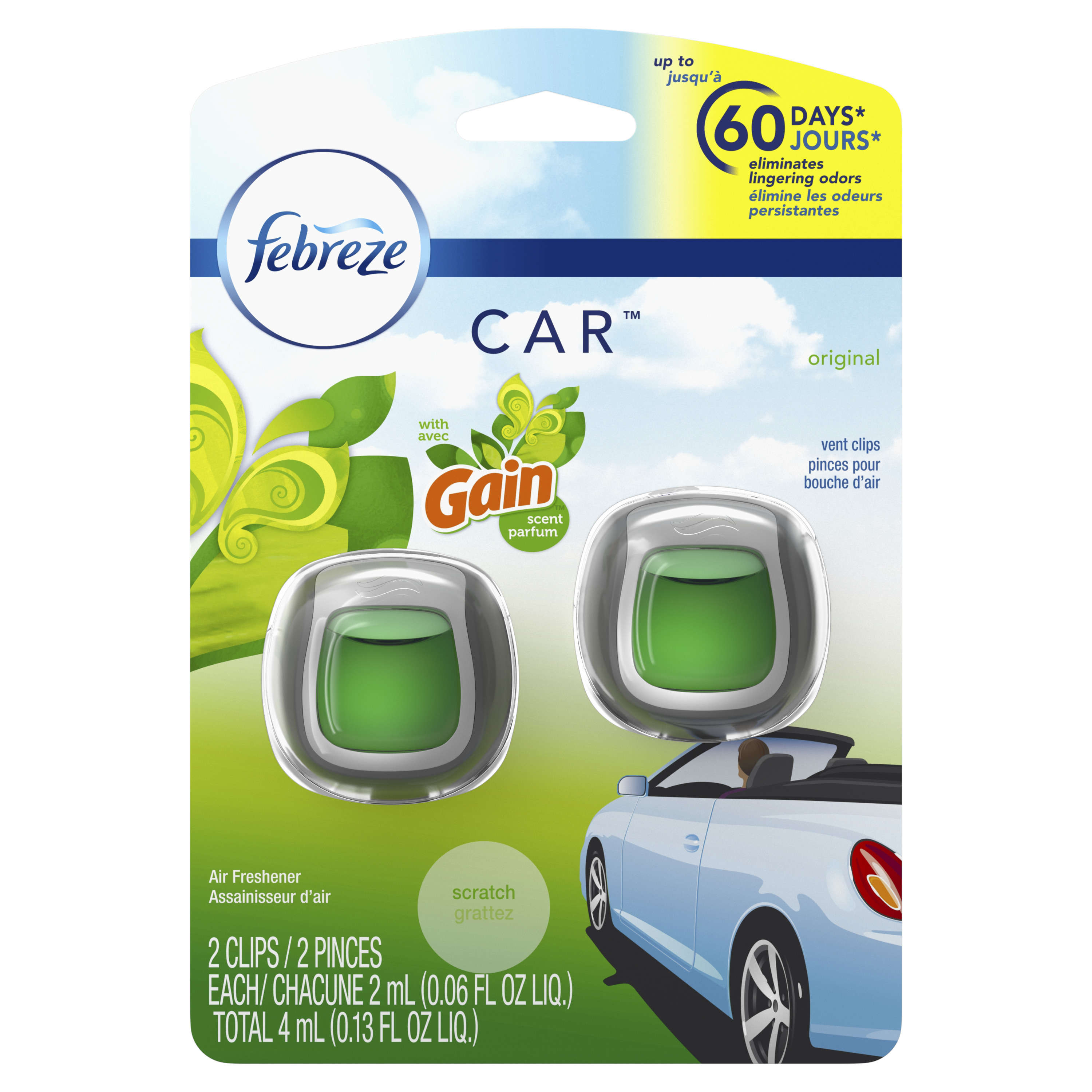 Febreze Car Air Freshener, Gain Original, 2 count