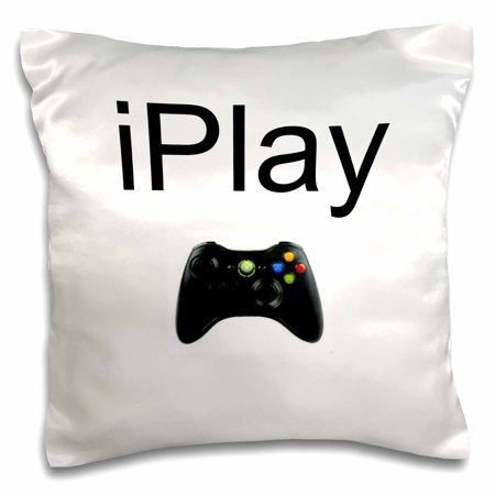 Black Lettering (3dRose iPlay, black lettering on white background, picture of game controller, Pillow Case, 16 by)