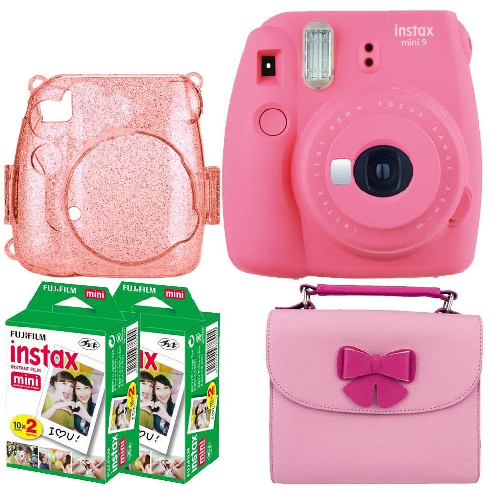 Hot deal! Flamingo Pink Fujifilm Instax Mini 9 Camera + Pink Glitter Case for Fuji Mini Camera + Butterfly Camera and Accessories Case + Film Twin Pack – 20 Shots