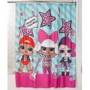 "L.O.L. Surprise! Kids Bathroom Decorative Fabric Shower Curtain, 72"" x 72"