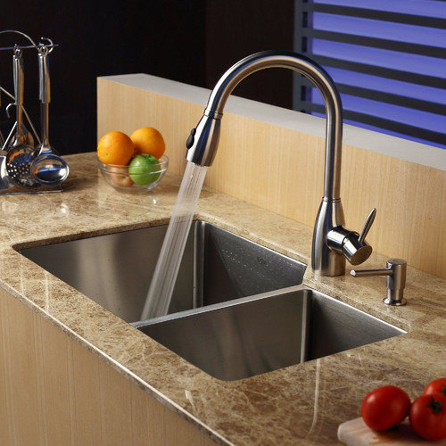 Kraus 32'' x 20'' Double Bowl Undermount Kitchen Sink with Faucet and Soap Dispenser