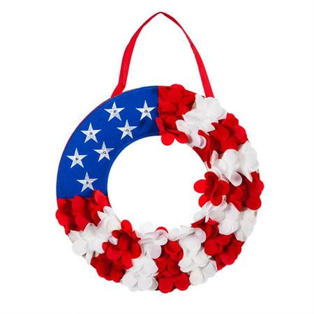 Evergreen Door Decor - Patriotic Wreath Lit