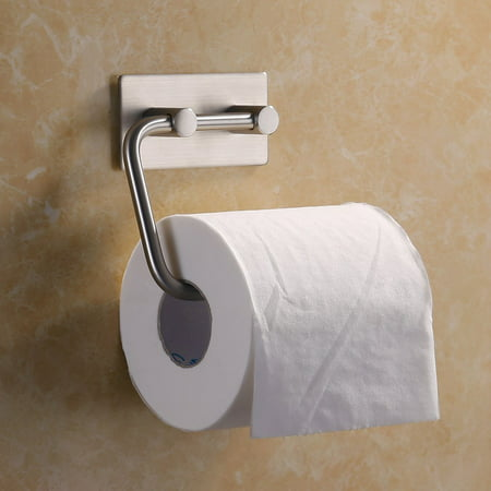 Self Adhesive Toilet Paper Holder Rotate Freely 304 Stainless Steel Brushed Tissue Roll Towel Rustproof Finish Silver