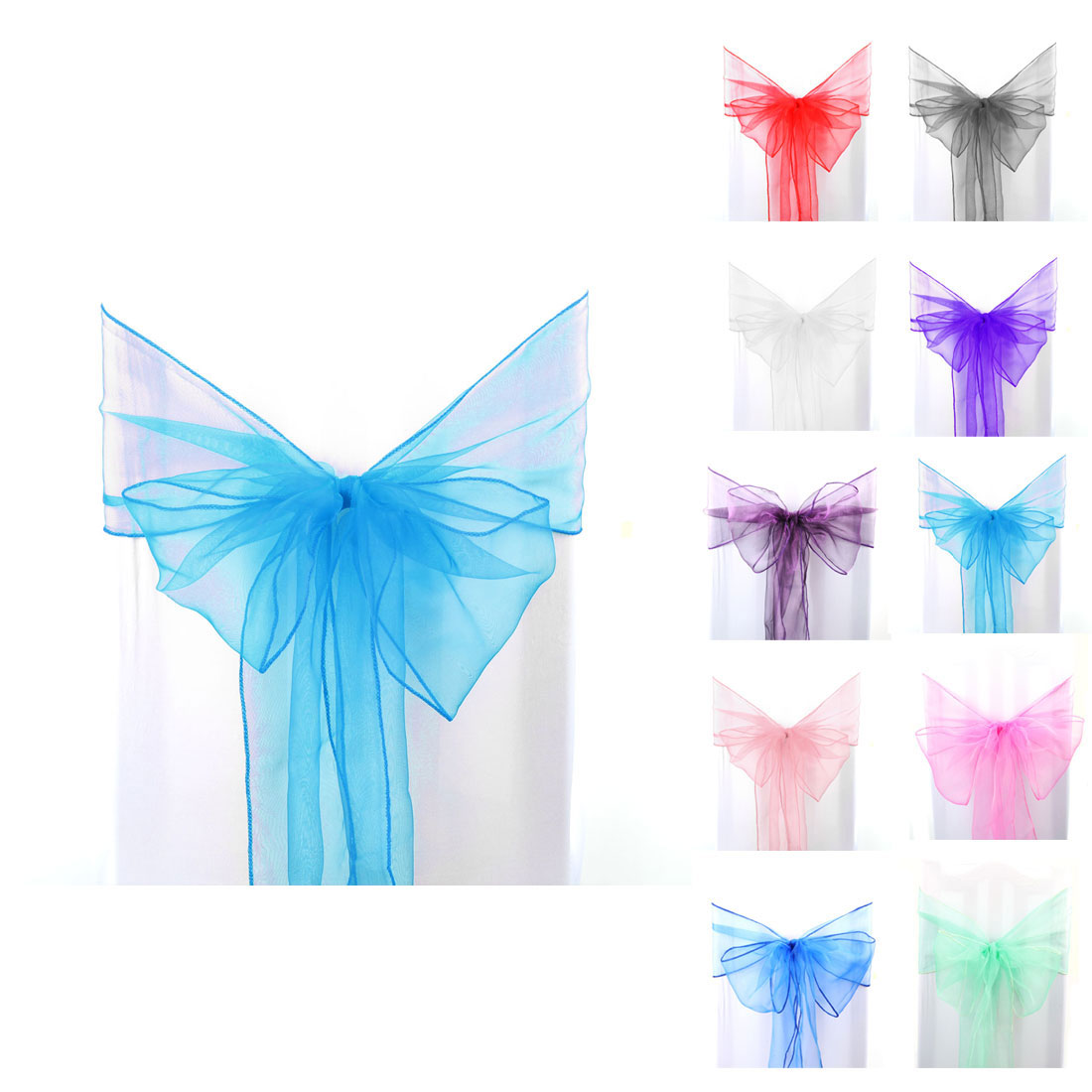 1pcs Organza Sashes Chair Cover Bows Sash Fuller Bow for Wedding Party Birthday Banquet Event Decoration Red