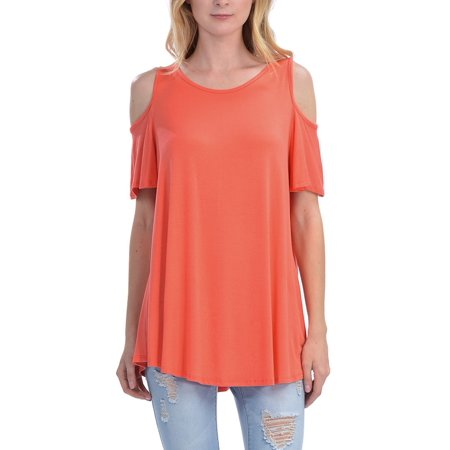 KOGMO Womens Cold Shoulder Short Ruffle Sleeve Tunic Top (Ruffle Bottom Tunic)