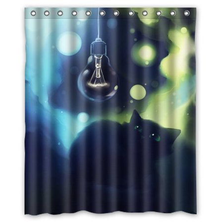 MOHome Black Cat Shower Curtain Waterproof Polyester Fabric Shower ...