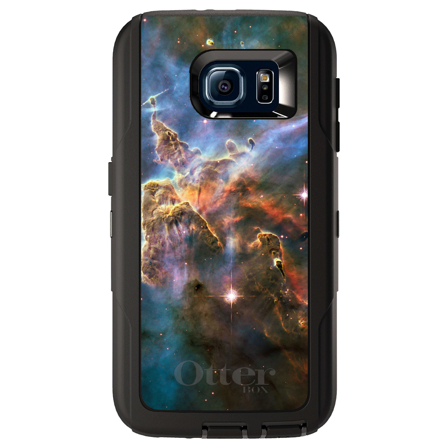 DistinctInk™ Custom Black OtterBox Defender Series Case for Samsung Galaxy S6 - Blue Pink Orange Carina Nebula