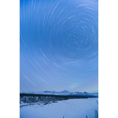 Night Time View Of Star Trails Over Mt Mckinley With Northern Lights In The Background Denali State Park Southcentral Alaska Winter Stretched Canvas - Kevin Smith  Design Pics (12 x 19)