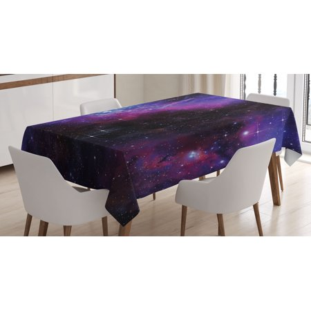 Space Tablecloth, Nebula Dark Galaxy with Luminous Stars and Cosmic Rays Astronomy Explore Theme, Rectangular Table Cover for Dining Room Kitchen, 60 X 84 Inches, Magenta Blue, by - Galaxy Themes