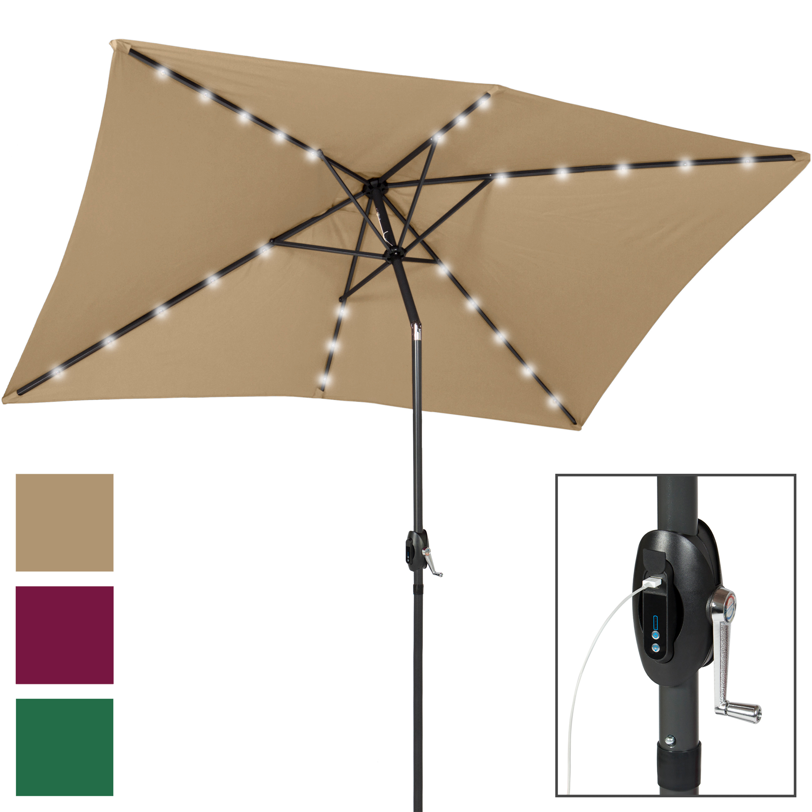 Best Choice Products 10x6 5ft Rectangular Solar Led Patio Umbrella W