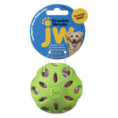 Petmate Doskocil Co  Inc  Crackle Heads Ball Dog Toy  Medium