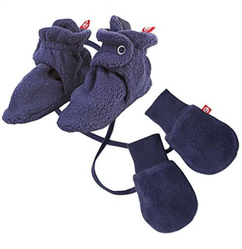 Maven Gifts: Zutano Newborn Unisex-Baby Fleece Bootie, Navy, 12 Months with Cozie Lined Mitten, One Size