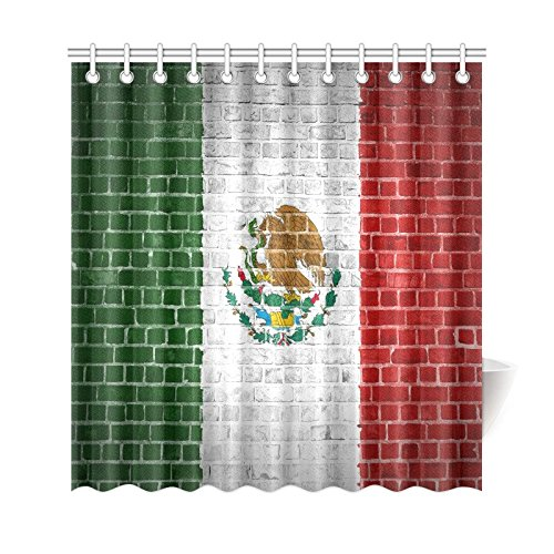 GCKG Mexico Flag Shower Curtain Brick Wall Polyester Fabric