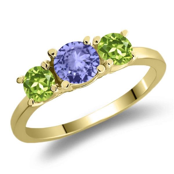 1.06 Ct Round Blue Tanzanite Green Peridot 925 Yellow Gold Plated Silver Ring