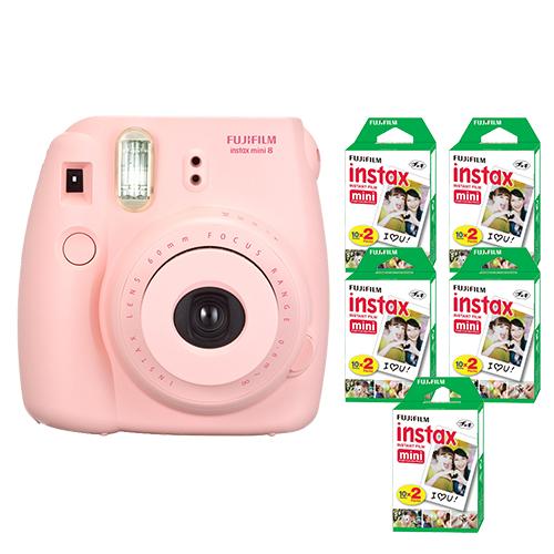 FujiFilm Instax Mini 8 Fuji Instant Film Camera Pink + 100 SHeets Instant Film by Fujifilm