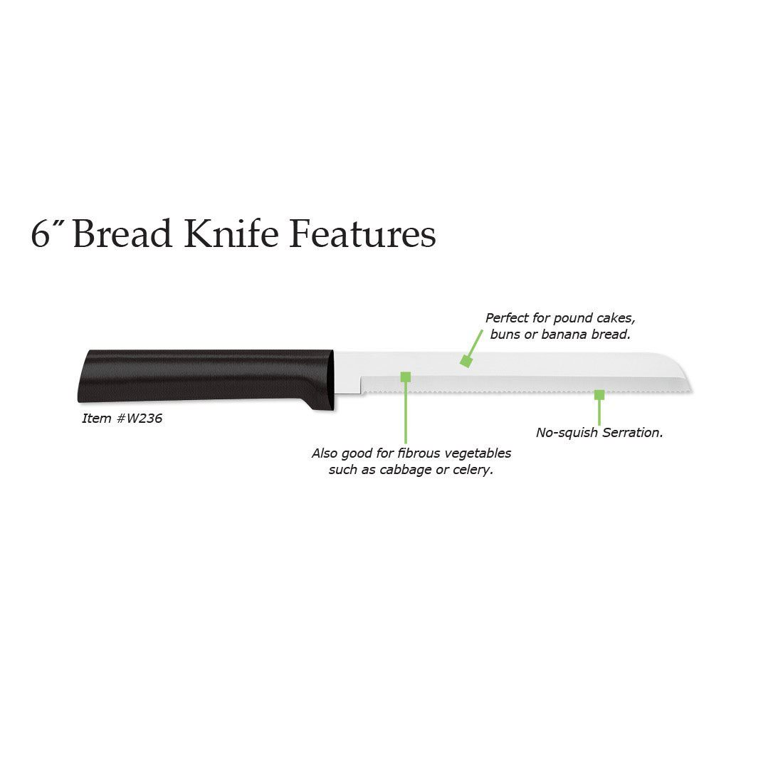 Rada Cutlery 6-Inch Bread Knife � Stainless Steel Serrated Blade With Stainless Steel Resin Handle by Rada Mfg