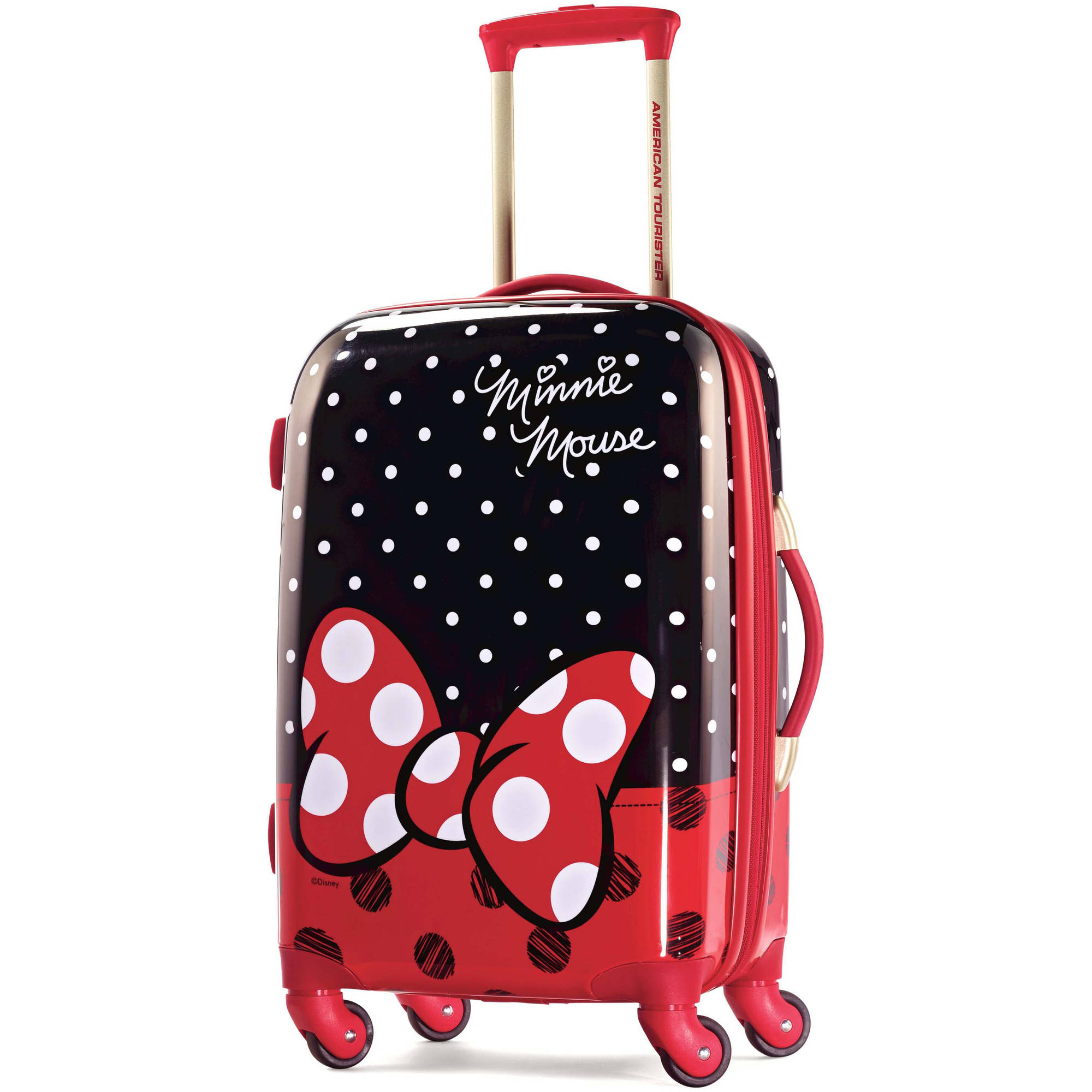 American Tourister Disney Minnie Mouse Red Bow Spinner Hard Side Suitcase