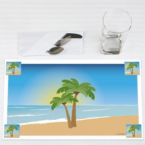 Beach Wedding Bridal Shower & Wedding Placemats Set of 12 by Big Dot of Happiness, LLC