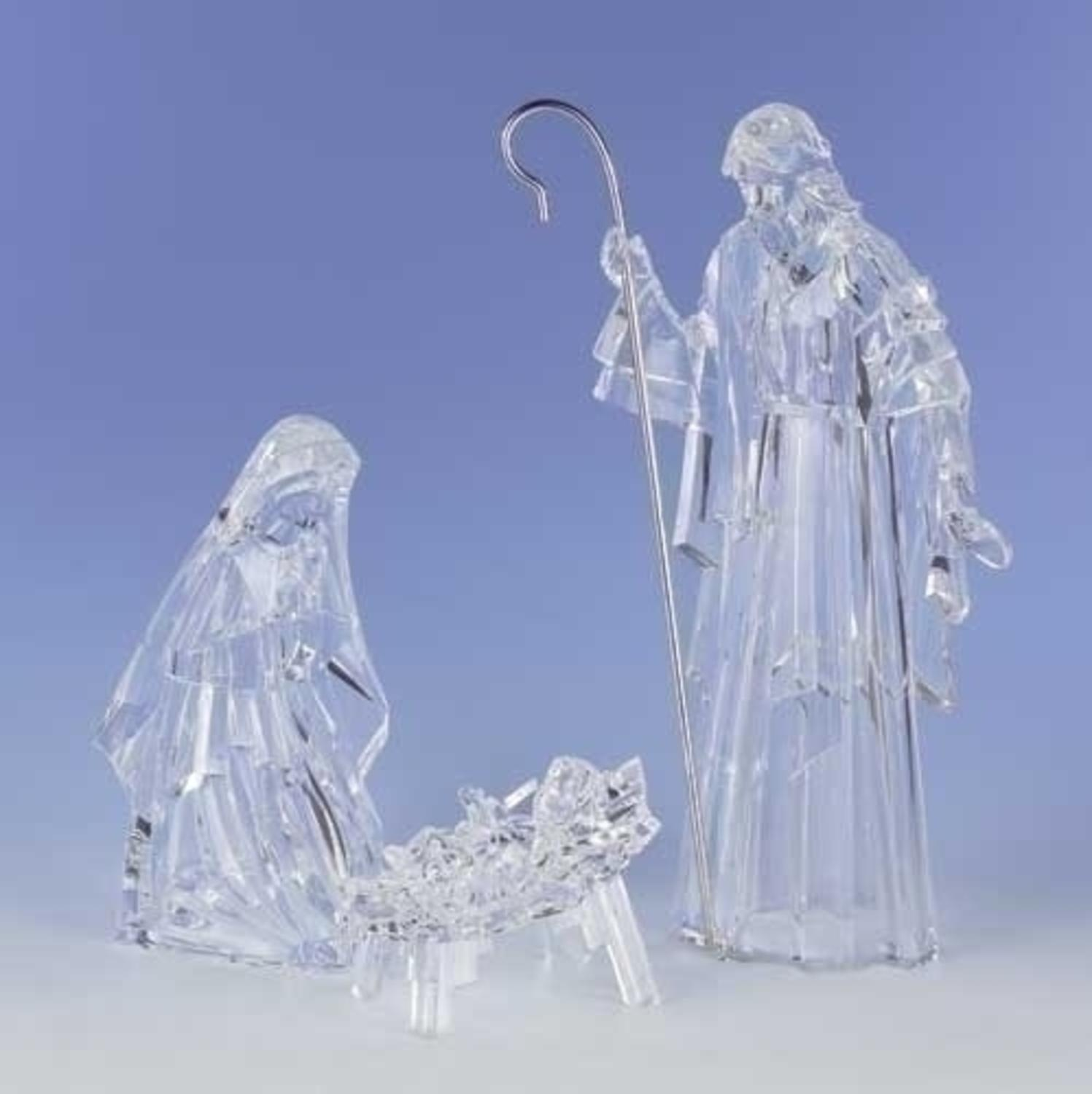 3-Piece Icy Crystal Religious Holy Family Christmas Nativity Figure Set