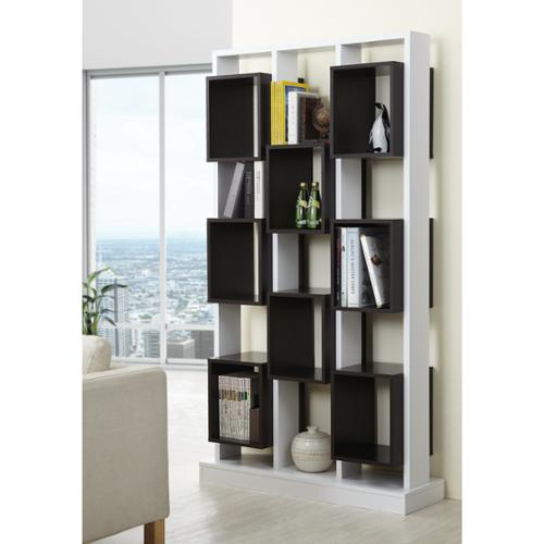 Furniture of America Caudaline Tower Cut-Out Bookcase White & Burnish Walnut