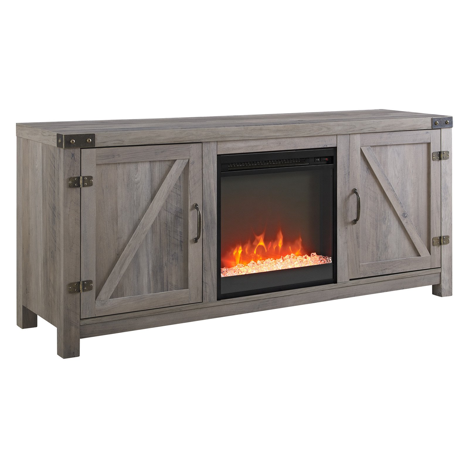 Walker Edison 58 In Barn Door Fireplace Tv Stand Barnwood