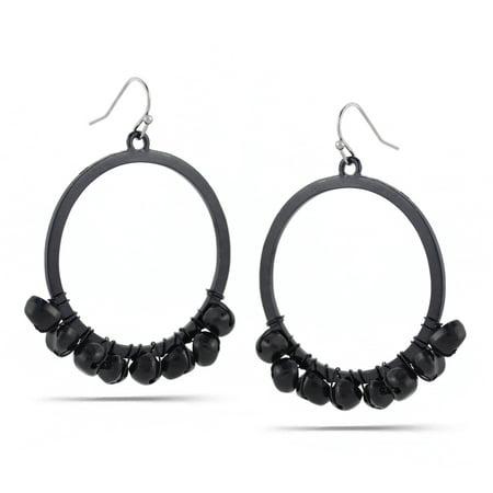 WOMEN'S BLACK METAL ROUND DROP EARRINGS (Metal Round Earring)