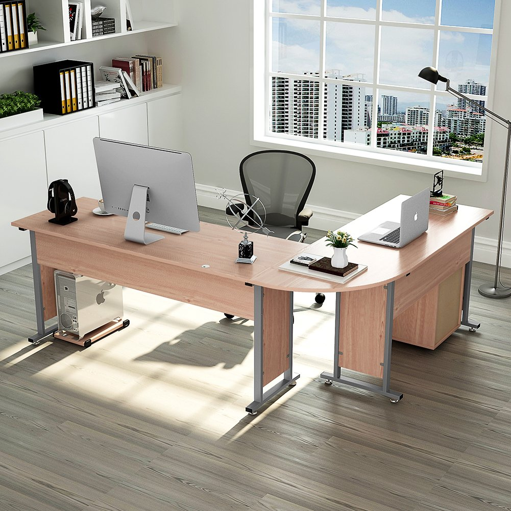 "83"" Tribesigns Modern L-Shaped Desk With Return And Mobile"