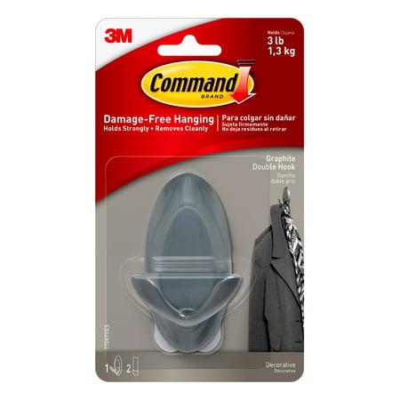 Command Graphite Double Hook, Medium, 1 Hook, 2 Strips/Pack