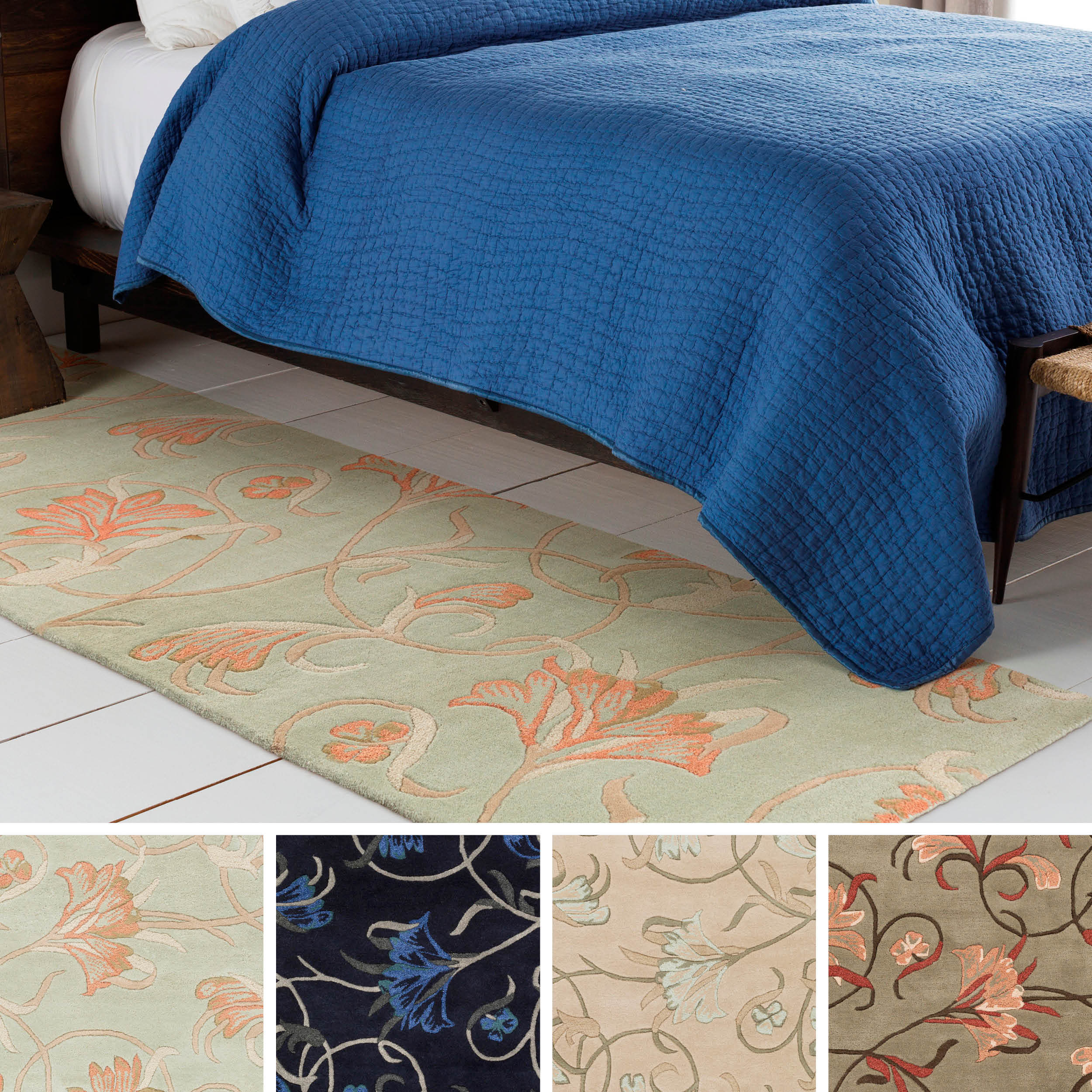 Hand-Tufted Jace Floral New Zealand Wool Rug (2'6 x 8')