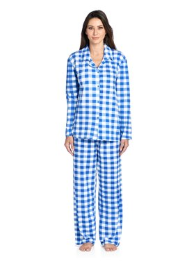 9957618c8c Product Image Casual Nights Women s Long Sleeve Rayon Button Down Pajama Set  - Royal Blue Plaid - Medium