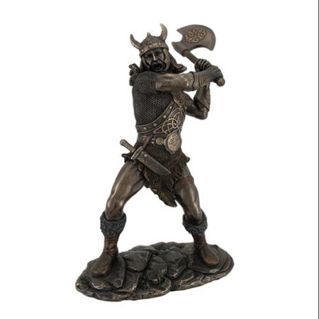 Viking Warrior Swinging and Axe Bronze Finish - Viking Battle Axe
