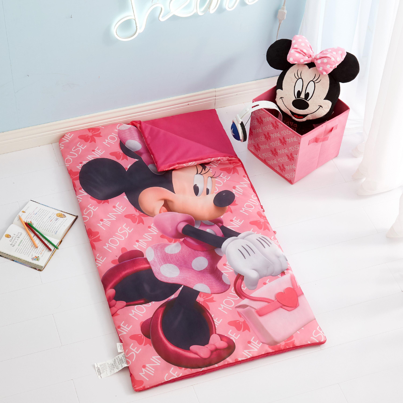 Disney Minnie Mouse 3 Piece Slumber Bag, Pillow & Storage Cube Set