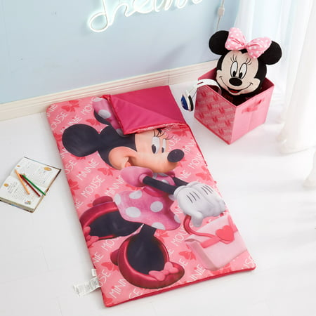 Disney Minnie Mouse 3 Piece Slumber Bag, Pillow & Storage Cube Set