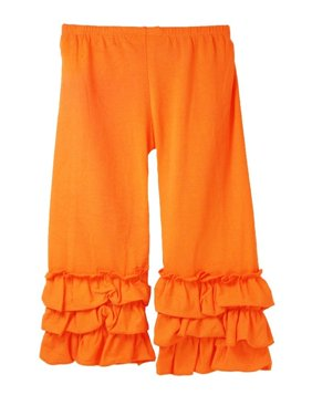 Girls Orange Triple Tier Ruffle Cuffed Cotton Spandex Pants 12M-7