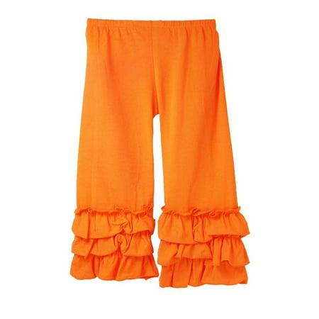 Girls Orange Triple Tier Ruffle Cuffed Cotton Spandex Pants - Young Girls Spandex