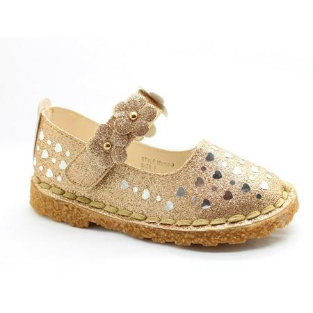 Little Girls Gold Glitter Heart Floral Accent Dress Shoes](Navy Blue Dress Shoes For Girls)